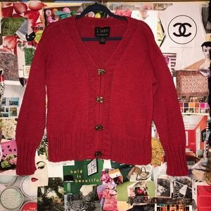 Pure Knit Womens Sweater Brass Buckle Closure M